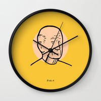 pablo picasso Wall Clocks featuring Pablo Picasso by Michael Constantine