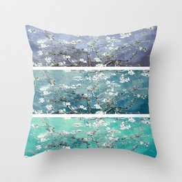 Van Gogh : Almond Blossoms Turquoise Teal Steel Blue Panel Art Throw Pillow