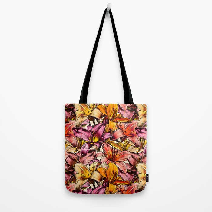 Daylily Drama - a floral illustration pattern Tote Bag