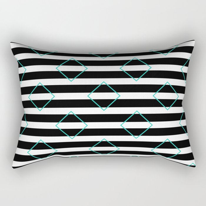 Black and White Stripes And Cyan Blue Squares Pattern Rectangular Pillow