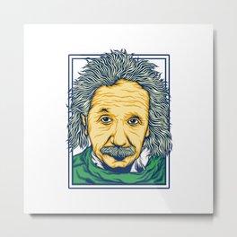 Illustration of the biggest physicist genius Albert Einstein. Metal Print