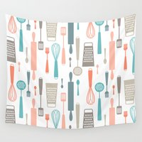 kitchen Wall Tapestries featuring Kitchen utensils by Heleen van Buul