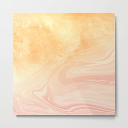 Red marble with gold overflow Metal Print