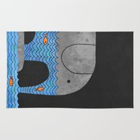 whimsical Area & Throw Rugs featuring Thirsty Elephant  by Terry Fan
