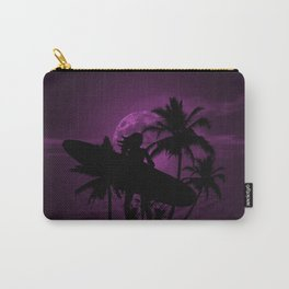 Purple Dusk with Surfergirl in Black Silhouette with Longboard Carry-All Pouch