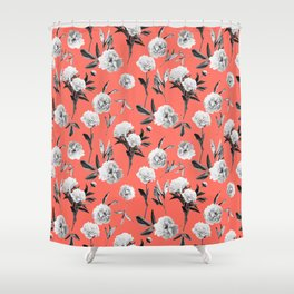 Peonies Mono Coral Shower Curtain