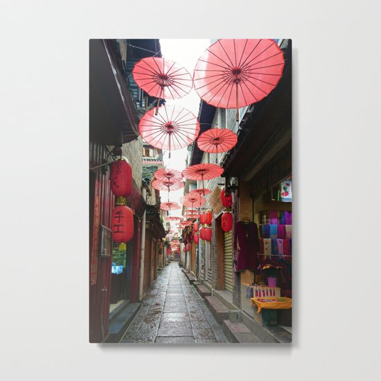 Asia in Red Metal Print
