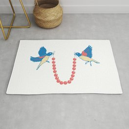 Birds and necklace Rug