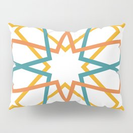 Orange Yellow Turquoise Geometric Tile Pattern Pillow Sham