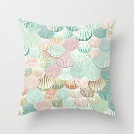 MERMAID SHELLS - MINT & ROSEGOLD Throw Pillow