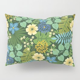 Tropical Blue and Yellow Floral Pillow Sham