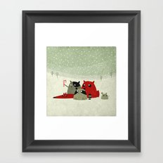 Guilty dudes in the snow Framed Art Print