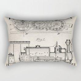 Steam Train Patent - Steam Locomotive Art - Antique Rectangular Pillow