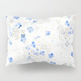 blue abstract hydrangea pattern Pillow Sham