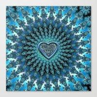 Celtic Heart Knot Fractal Mandala Canvas Print