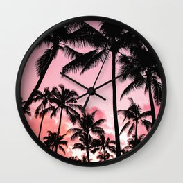 Tropical Trees Silhouette Wall Clock