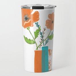 California Poppies white background Travel Mug