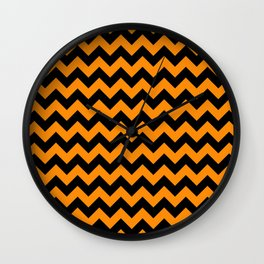 Large Black and Pumpkin Orange Halloween Chevron Stripes Wall Clock