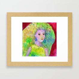 Green Hair Don't Care Framed Art Print