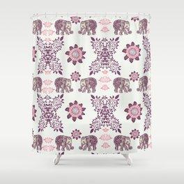 Boho Pink Elephants Shower Curtain