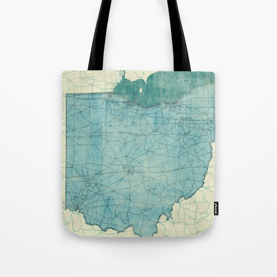 Ohio State Map Blue Vintage Tote Bag