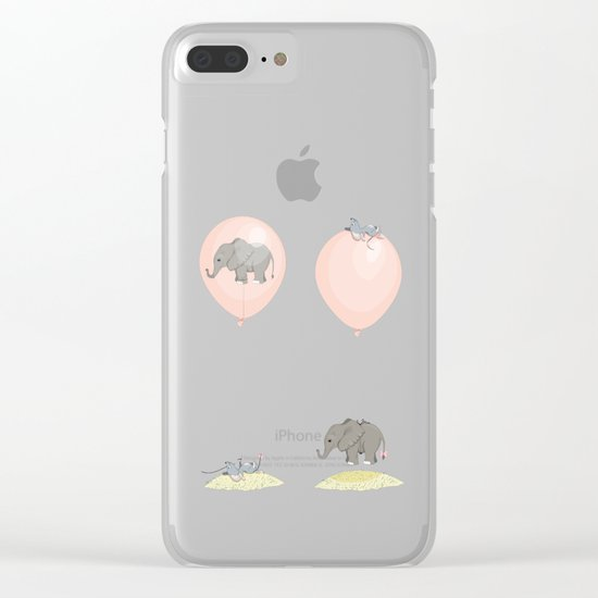 Elephant, globe and mouse Clear iPhone Case