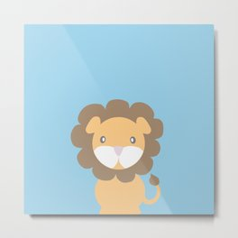Lion - Blue Metal Print