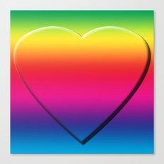 One Heart Rainbow Canvas Print