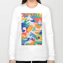 Amalfi Abstraction Pattern / Colourful Modern Shapes Long Sleeve T-shirt