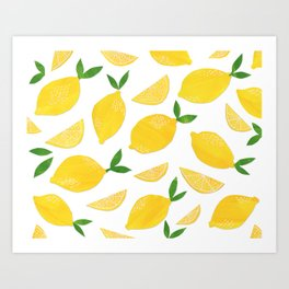 Lemon Cut Out Pattern Art Print
