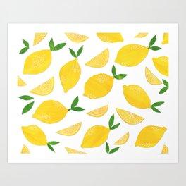 Lemon Cut Out Pattern Art Print