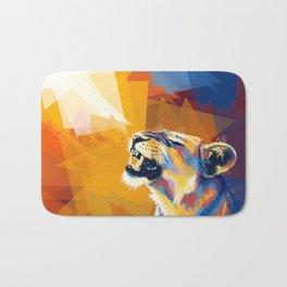 In the Sunlight - Lion portrait, animal digital art Bath Mat