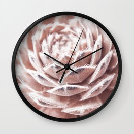 Succulent Blush Pink Wall Clock