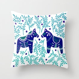 Swedish Dala Horses – Navy & Blue Palette Throw Pillow