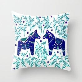 Swedish Dala Horses – Navy & Blue Palette Throw Pillow