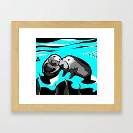 Manatee Love in blue Framed Art Print