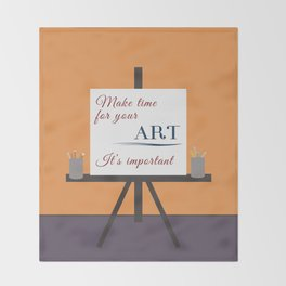 Make Time For Art (Colorful Calligraphy) Throw Blanket