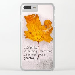 Autumn. Fallen leaf on dirty ice. Clear iPhone Case
