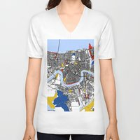 new orleans V-neck T-shirts featuring New Orleans by Mondrian Maps