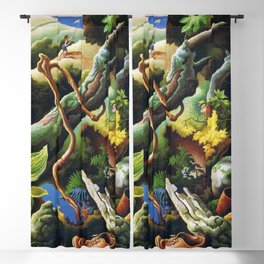 Classical Masterpiece 'the Butterfly Catcher' by Thomas Hart Benton Blackout Curtain