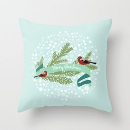 Bullfinches sitting on conifer branch Throw Pillow
