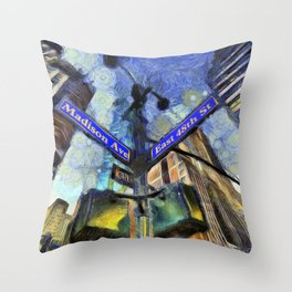 New York Street Sign Van Gogh Throw Pillow