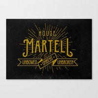 martell Canvas Prints featuring House Martell Typography by P3RF3KT