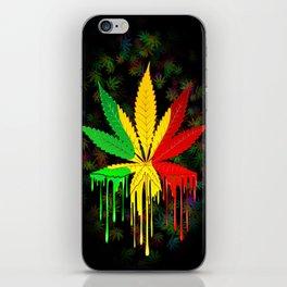 Marijuana Leaf Rasta Colors Dripping Paint iPhone Skin