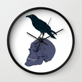 Raven On A Human Skull Wall Clock