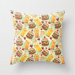 burgers, juices & fries Throw Pillow