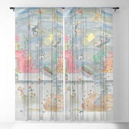 Happy Town V Sheer Curtain