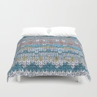 knitting Duvet Covers featuring KNITTING #4 by NADEZDA FAVA