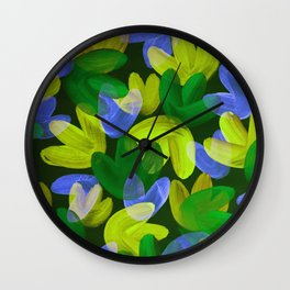 Vibrant Acrylic Painting Layered Tulips Floral Pattern Multi Colors Neon Blue Lime Yellow Green Wall Clock