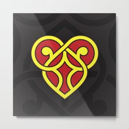 Celtic Heart Design - Red and Yellow Metal Print